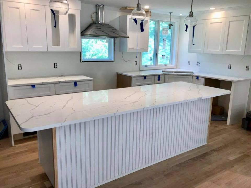 Check Out This Gorgeous New Kitchen Install In Rye: Q Stone Quartz In  Calacatta Laza. Hubba Hubba.
