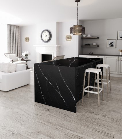 Black Silestone Countertop with Waterfall