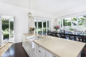 Cream Colored Silestone Kitchen Island
